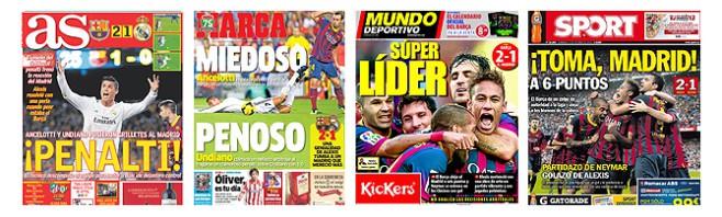 Die Schlagzeilen der spanischen Sportpresse zum 2-1